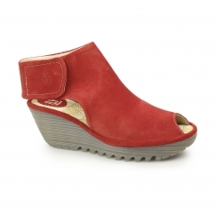 YONE Ladies Suede Leather Touch Fasten Cut Out Wedge Heels Red