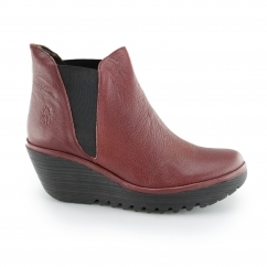 YOSS Ladies Leather Pull On Wedge Ankle Boots Cordoba Red
