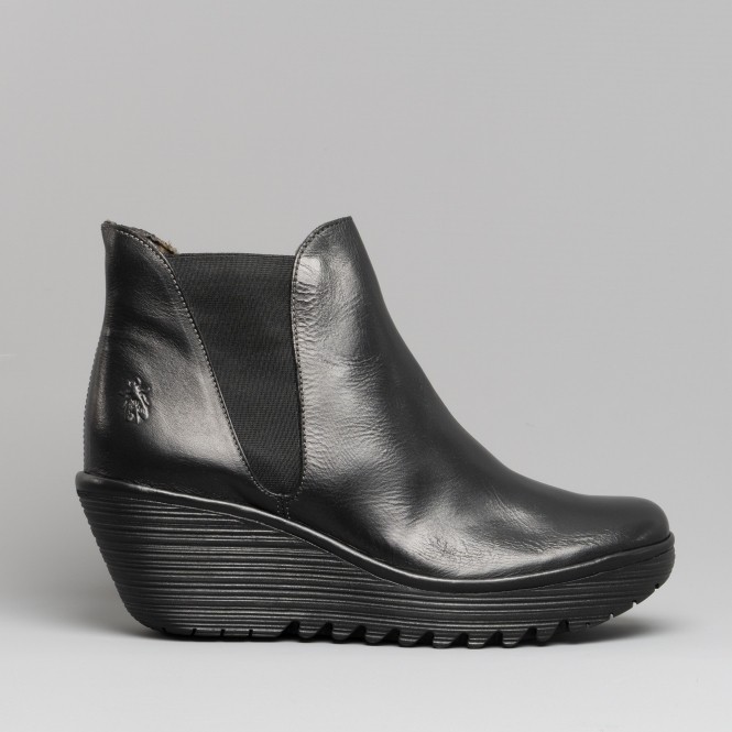 Womens Fly London Yoss Elasticated Leather Chelsea Boot Wedge Heel Shoes US 5-11