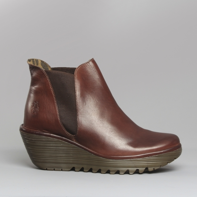 Wedge Boots On Ladies Chelsea Leather Yoss Brown Pull 8nwP0OXNk