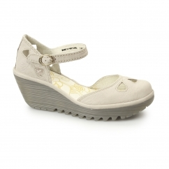 YUNA Ladies Leather Cut Out Wedge Heeled Sandals Concrete