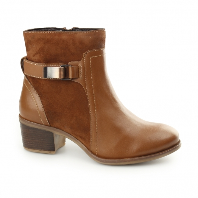 Hush Puppies FONDLY NELLIE Ladies Leather Suede Ankle Boots Cognac