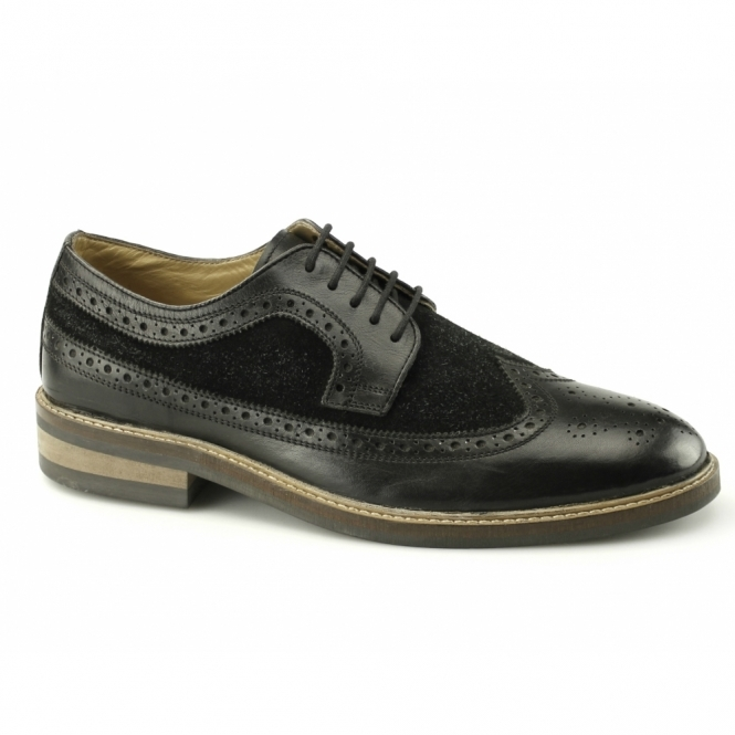 Gucinari FRANKIE Mens Leather & Suede Brogue Shoes Black
