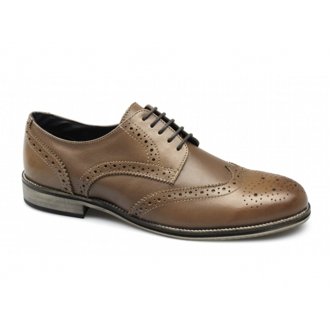 Roamers FRANKLIN Mens Leather Brogue Shoes Tan