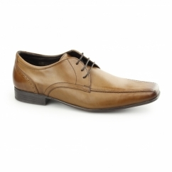 FRASER Mens Lace Up Leather Chisel Toe Shoes Tan