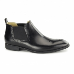 FREEDOM Mens Waxed Leather Chelsea Boots Black