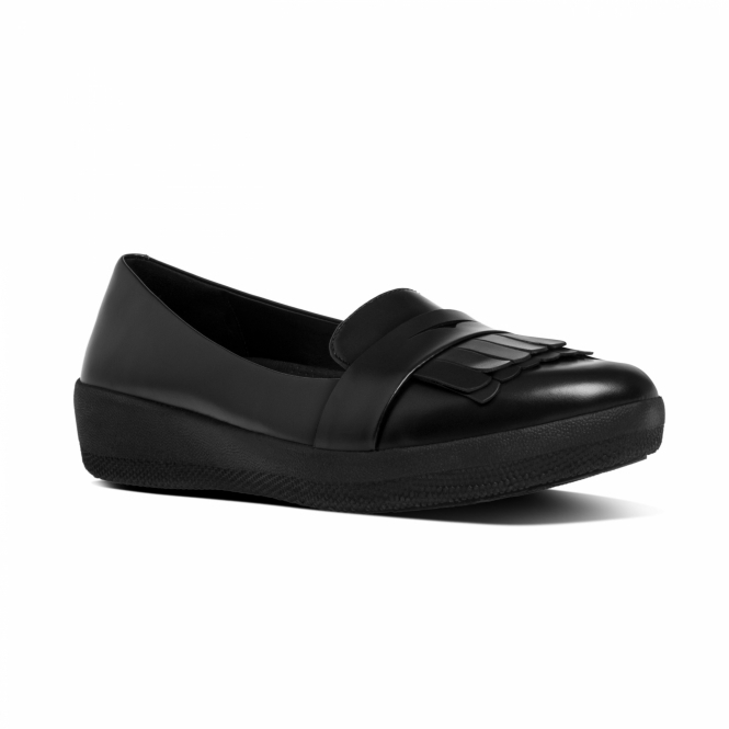 FitFlop™ FRINGEY SNEAKERLOAFER™ Ladies Leather Loafers Black