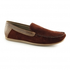 FROME Mens Suede Leather Loafers Burgundy
