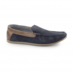 FROME Mens Suede Leather Loafers Navy