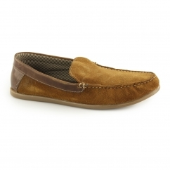 FROME Mens Suede Leather Loafers Tan