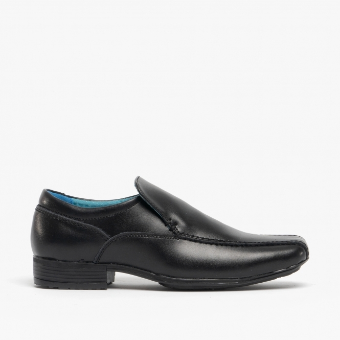 33742e2d6f6f2 Front BELMONT Boys Junior Leather Loafers Shoes Black | Buy At Shuperb