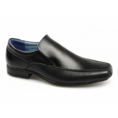 BELMONT Boys Leather Tramline Loafers Black