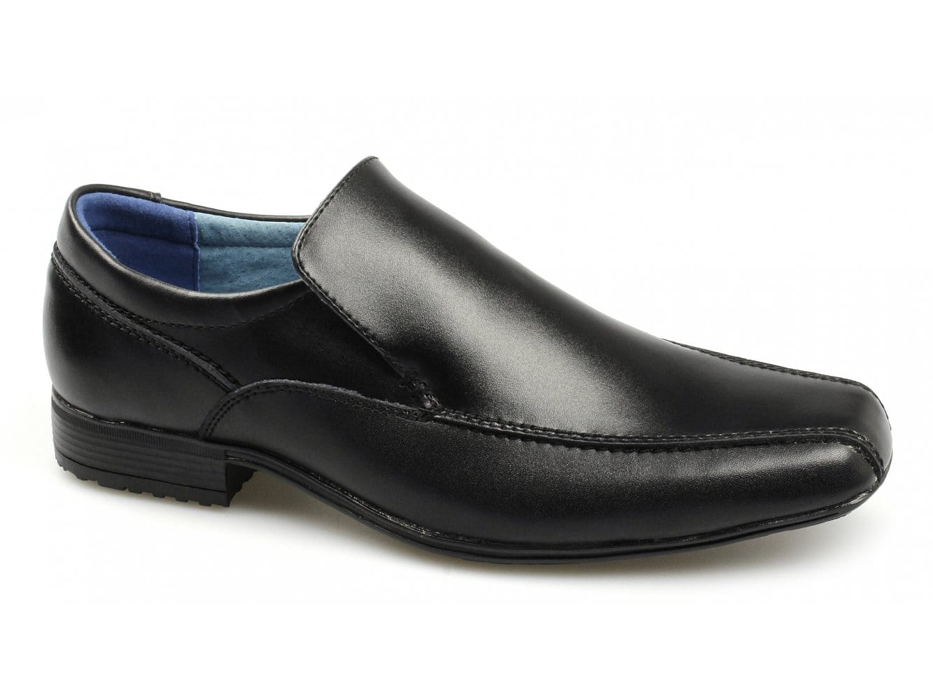 2f15437f181b Front BELMONT Boys Junior Leather Loafers Shoes Black