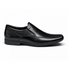 Front BELMONT Mens Leather Chisel Loafers Shoes Black