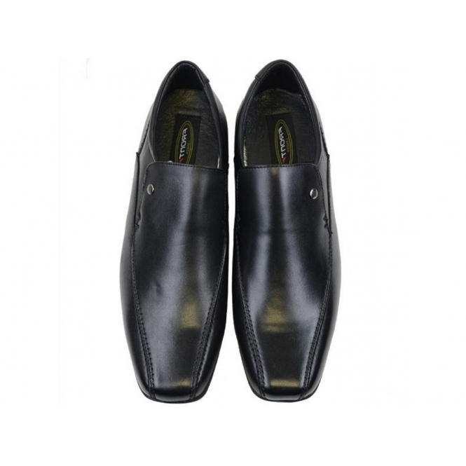 71c5235248df1 Front BELMONT Mens Leather Chisel Loafers Shoes Black | Buy At Shuperb