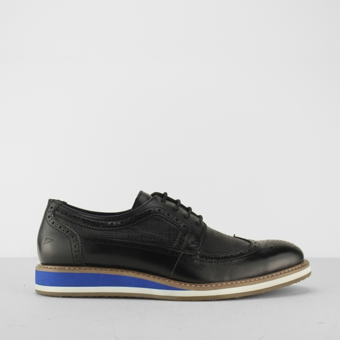 Front BERKELEY Mens Leather Brogue Shoes Black