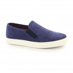 Front BRENNER Mens Suede Slip On Trainers Navy