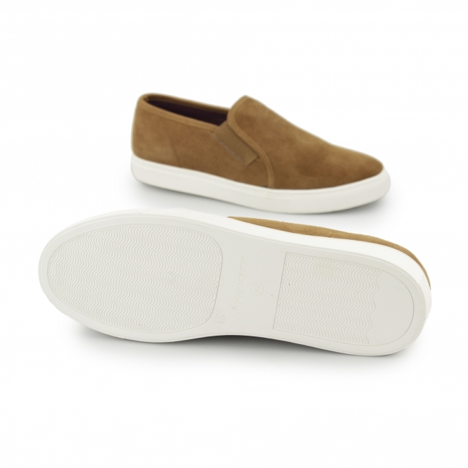 51db9ca1b5e Front BRENNER Mens Suede Slip On Trainers Tan