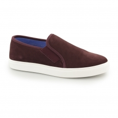 Front BRENNER Mens Suede Slip On Trainers Wine