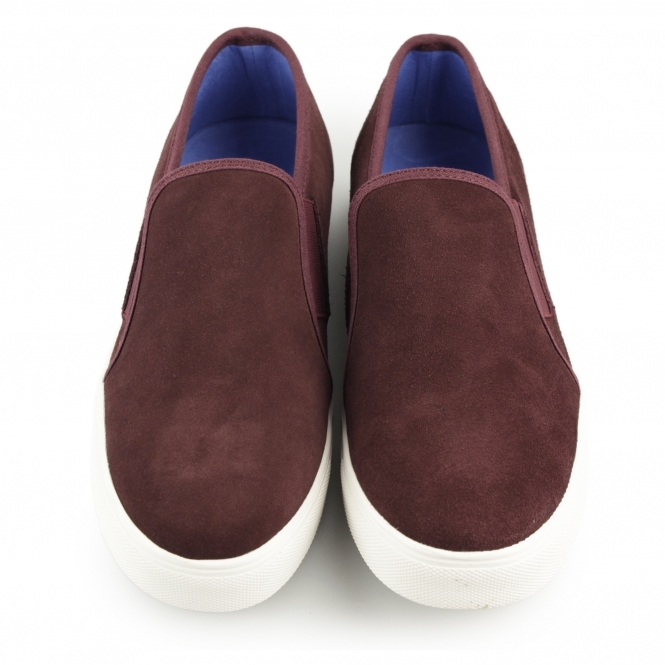 92f081cf9a6 Front BRENNER Mens Suede Slip On Trainers Wine Red