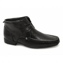 CLARKSON Mens Lace-Up Leather Ankle Boots Black