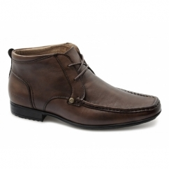 CLARKSON Mens Lace-Up Leather Ankle Boots Brown