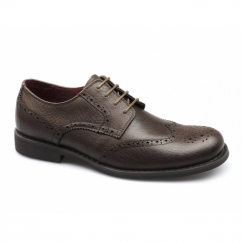 CLAXTON Mens Leather Brogue Shoes Brown