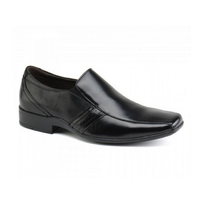Front CRADDOCK Mens Leather Chisel Slip-On Shoes Black