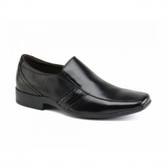 CRADDOCK Mens Leather Chisel Slip-On Shoes Black