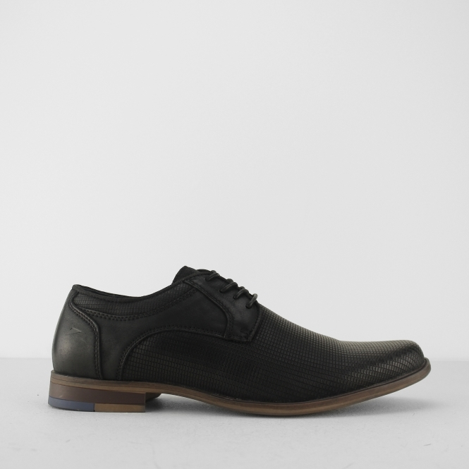 dfc5b63a495c Front DUKE Mens Textured Leather Lace Up Derby Shoes Black   Shuperb