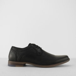 Front DUKE Mens Textured Leather Derby Shoes Black