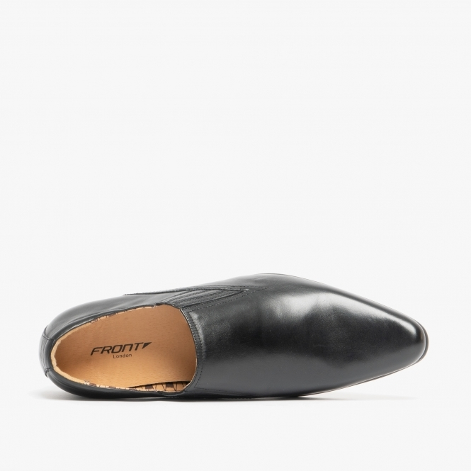 Front ENZO Mens Leather Slip On Resin Sole Pointed Formal Office Shoes Black//Tan