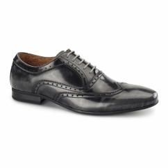 EZEL Mens Leather Oxford Brogues Rubbed Grey