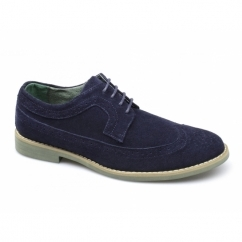 FADDEN 2 Mens Suede Brogue Desert Shoes Navy