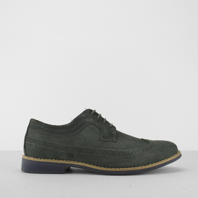 Front FADDEN 2 Mens Suede Leather Brogue Shoes Grey