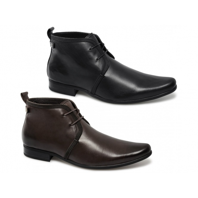 a1ae31f16764 Front HALLAND Mens Leather Lace-Up Chukka Boots Black