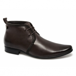 HALLAND Mens Leather Lace-Up Chukka Boots Brown