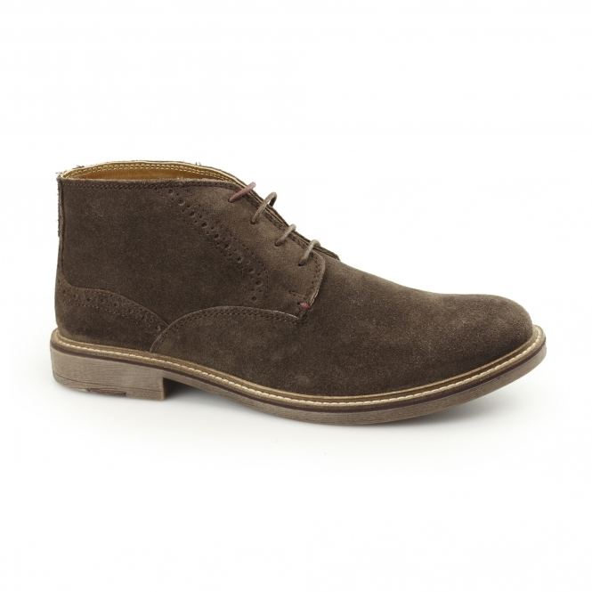 Front HOUSTON Mens Suede Leather Chukka Boots Brown