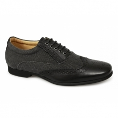 KINGSTON Mens Textile Leather Brogue Shoes Black