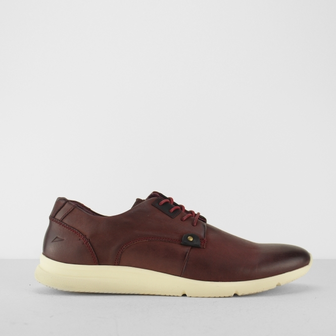 Front OLSLEN Mens Distressed Leather Trainers Burgundy