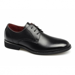 RIZZO Boys Leather Lace-Up Plain School Shoes Black