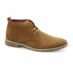 Front ROSCOE Mens Soft Suede Lace-Up Desert Boots Tan