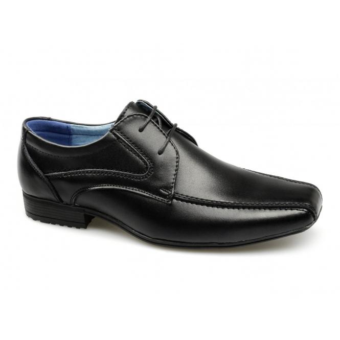 Front Snowden Boys Junior Leather School Shoes Black Buy