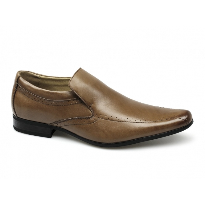 SULTAN Mens Leather Pointed Slip-On Shoes Tan