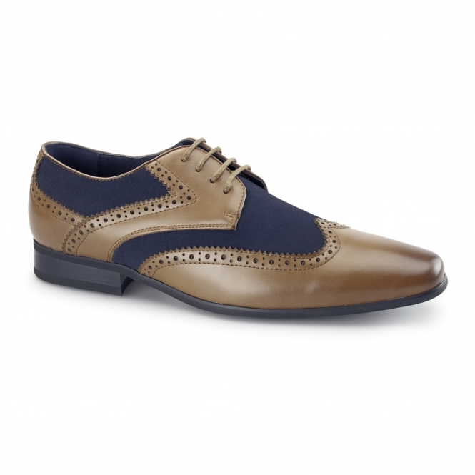 TURIN Mens Leather Suede Brogue Shoes Tan/Navy