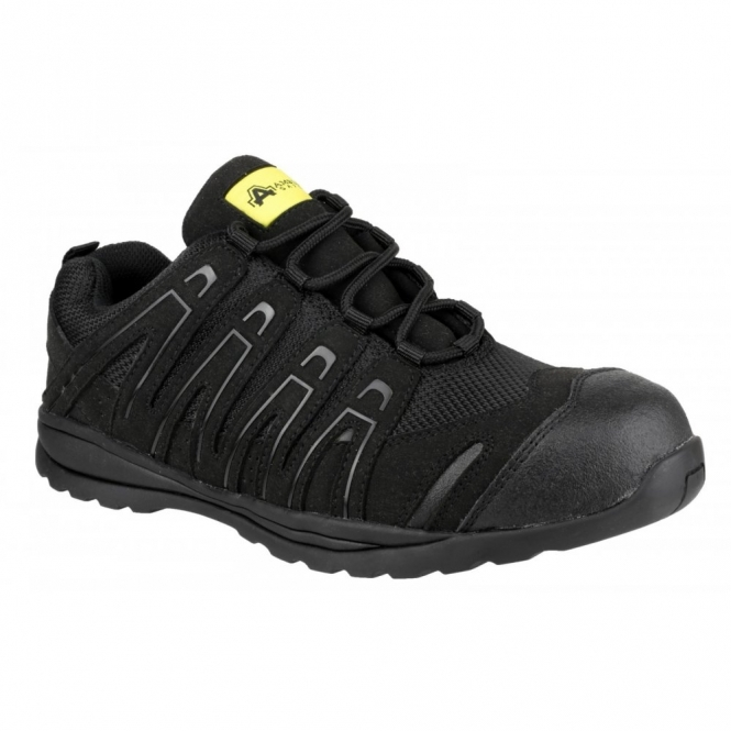 Amblers Safety FS40C Unisex S1 P HRO SRC Metal Free Safety Trainers Black