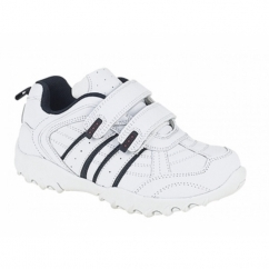 FUSION Boys Kids Twin Velcro School Trainers White