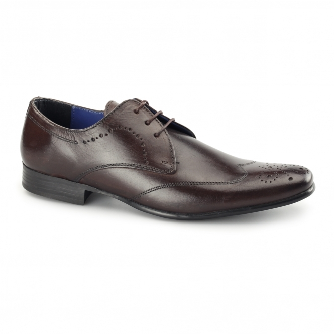 Red Tape GALA Mens Leather Chisel Toe Shoes Bordo