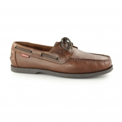 GALLEY Mens Leather Casual Deck Shoes Dark Brown