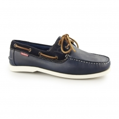 GALLEY Mens Leather Casual Deck Shoes Navy